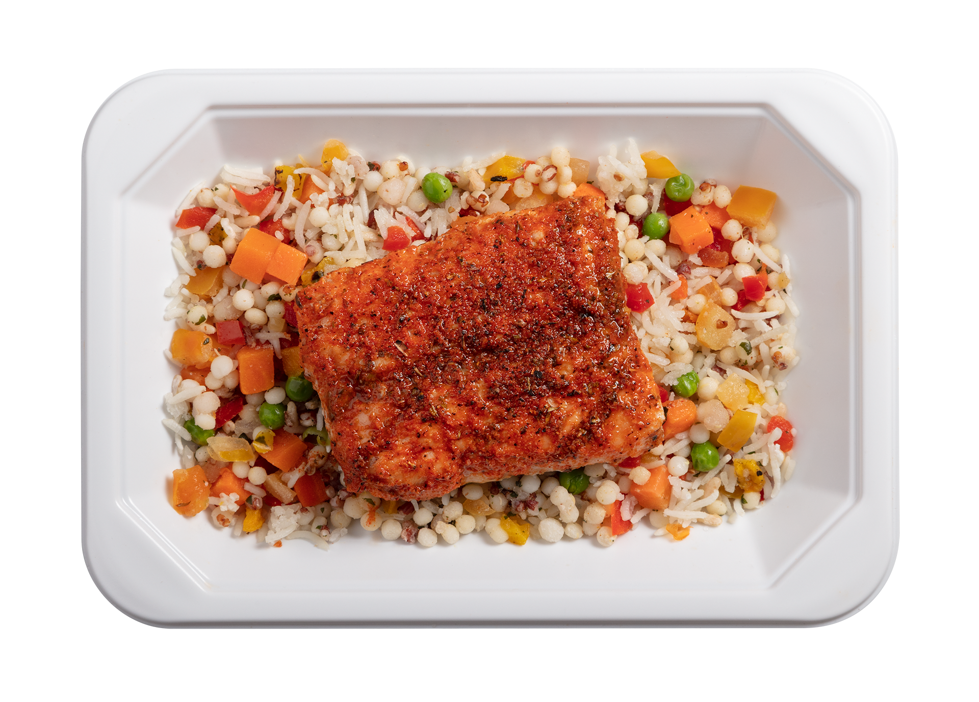 Blackened Salmon microwavable meal in its packaging tray.