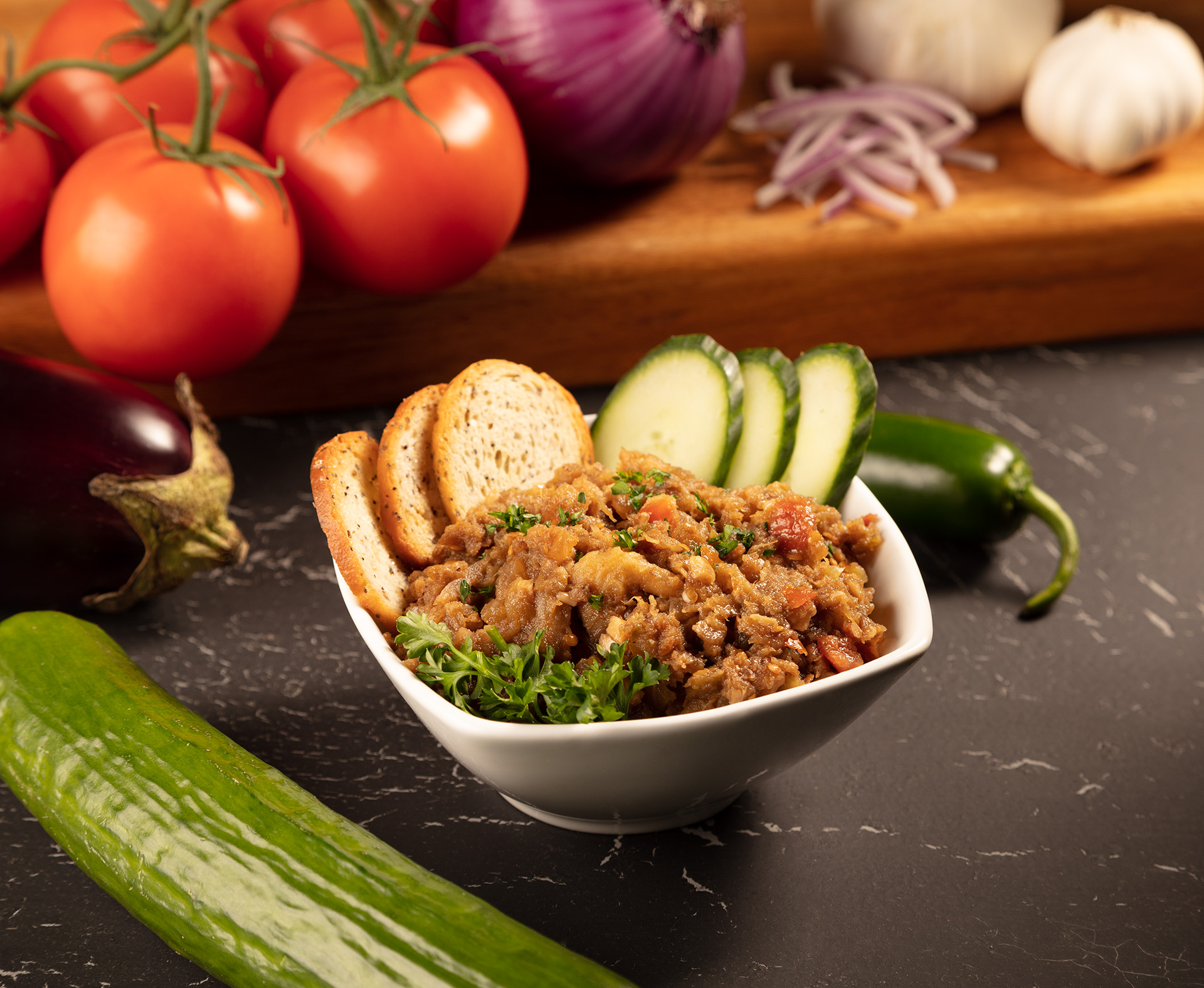 Eggplant Meze looking so good in a bowl.