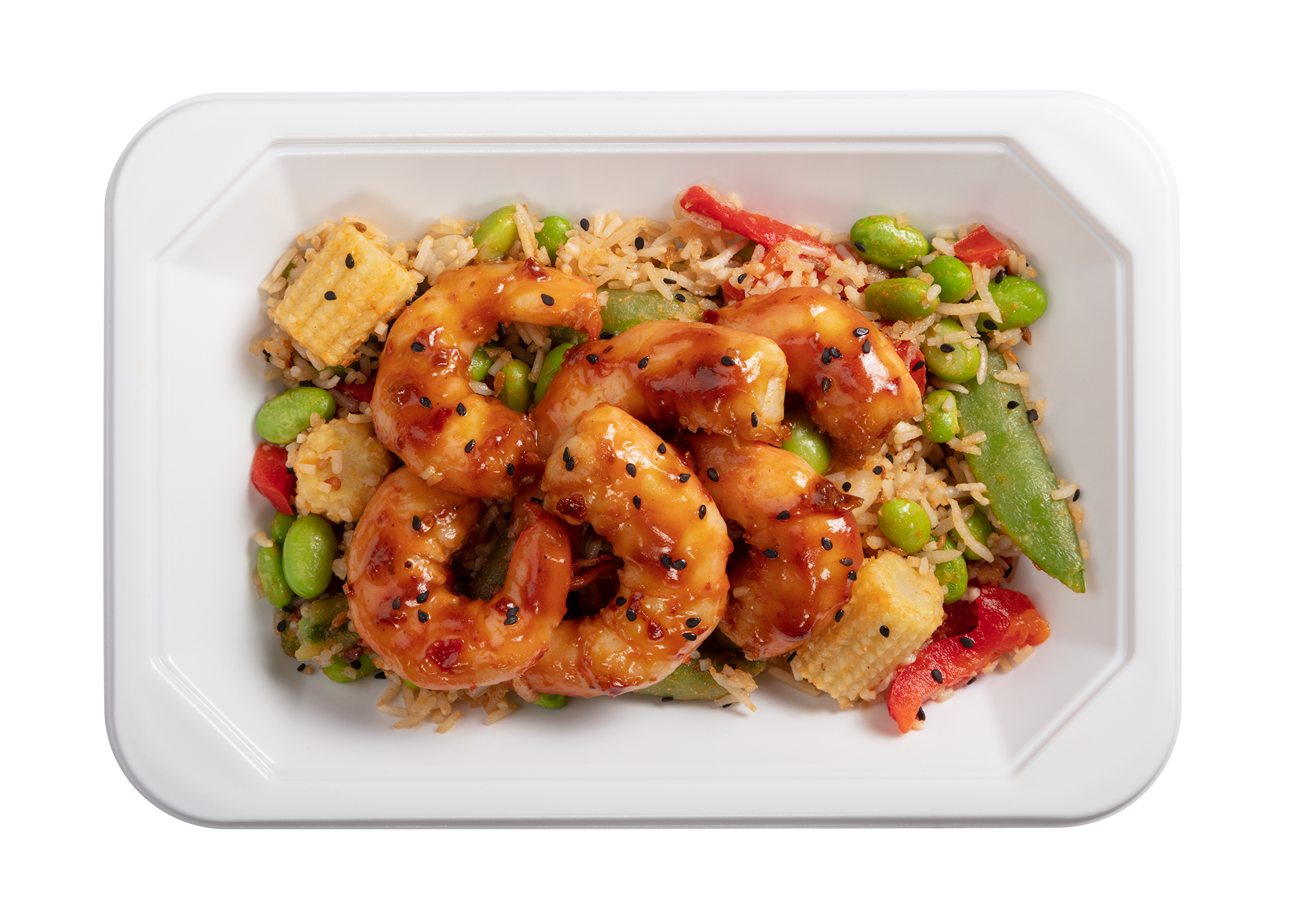 Stir Fried Shrimp microwavable meal in its packaging tray.