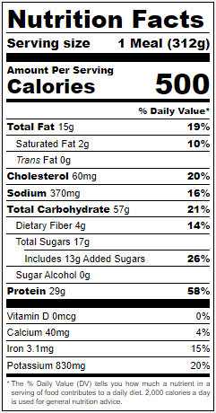 Thai Style Salmon nutrition panel.  Calories 500. Total Fat 15g 19%. Saturated Fat 2g 10%. Trans Fat 0g. Cholesterol 60mg 20%. Sodium 370mg 16%. Total Carbohydrate 57g 21%. Dietary Fiber 4g 14%. Total Sugars 17g. Includes 13g Added Sugars 26%. Protein 29g 58%. Vitamin D 0mcg. Calcium 40mg 4%. Iron 3.1mg 15%. Potassium 320mg 20%.
